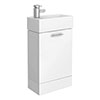 Cubix High Gloss White Vanity Unit inc Ceramic Basin W480 x D230mm - VTY058 profile small image view 1