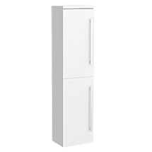 Nova High Gloss White Wall Mounted Tall Side Cabinet W350 x D250mm - VTY070 Medium Image