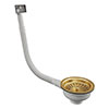 Venice Gold Basket Strainer Kitchen Sink Waste with Rectangular Overflow profile small image view 1