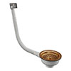 Venice Copper Basket Strainer Kitchen Sink Waste with Rectangular Overflow profile small image view 1