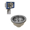 Venice Chrome Basket Strainer Kitchen Sink Waste with Rectangular Overflow profile small image view 1