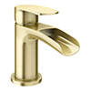 Valencia Brushed Brass Waterfall Basin Mixer Tap + Waste profile small image view 1