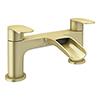 Valencia Brushed Brass Waterfall Bath Filler profile small image view 1