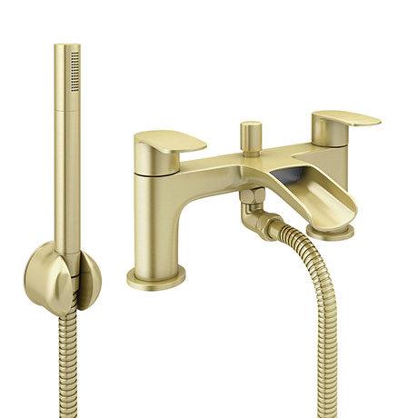 Valencia Brushed Brass Waterfall Bath Shower Mixer Inc. Shower Kit