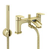 Valencia Brushed Brass Waterfall Bath Shower Mixer inc. Shower Kit profile small image view 1