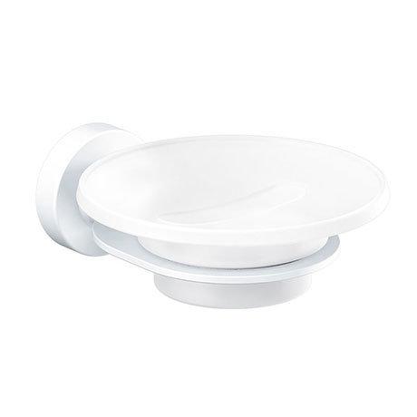 Venice White Glass Soap Dish & Holder