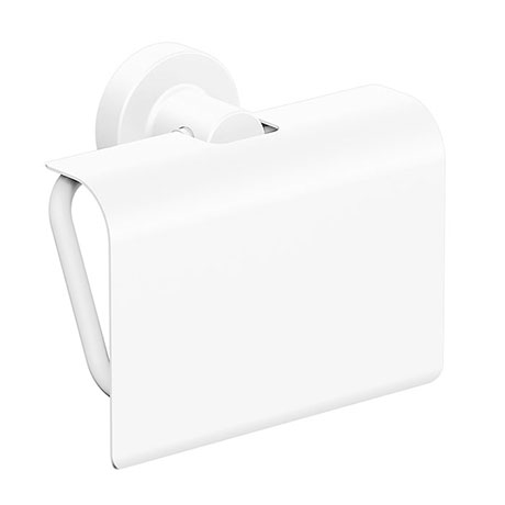 Venice White Toilet Roll Holder with Cover