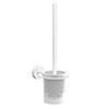Venice White Wall Mounted Toilet Brush & Holder profile small image view 1