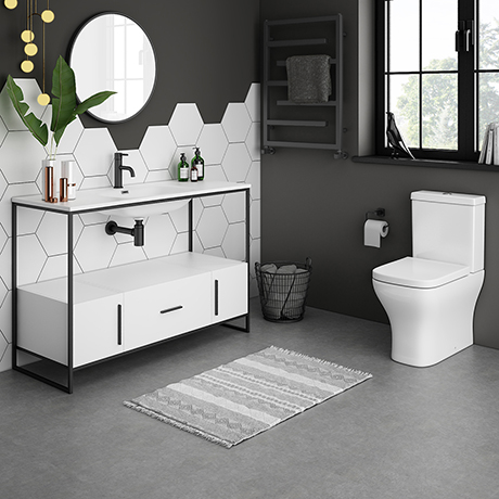 Venice 1200 Black Frame Basin Washstand with Toilet
