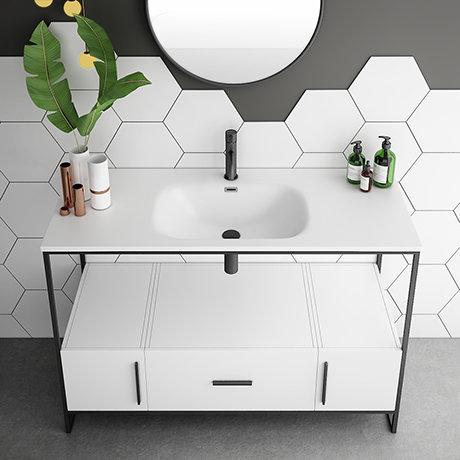 Venice Black Frame Basin Washstand - 1 Drawer, 2 Cupboards inc. 1200mm Solid Stone Basin