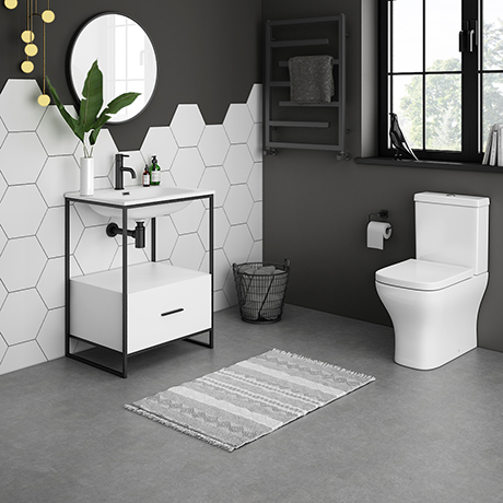 Venice 600 Black Frame Basin Washstand with Toilet