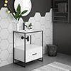 Venice Black Frame Basin Washstand - 1 Drawer inc. 600mm Solid Stone Basin profile small image view 1