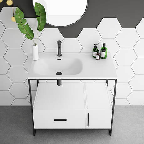 Venice Black Frame Basin Washstand - 1 Drawer, 1 Cupboard inc. 900mm Solid Stone Basin