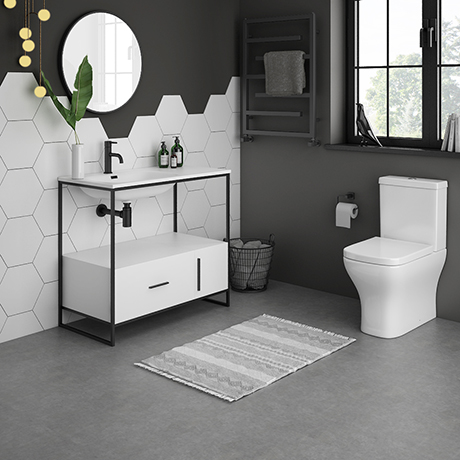 Venice 900 Black Frame Basin Washstand with Toilet