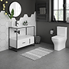 Venice 900 Black Frame Basin Washstand with Toilet profile small image view 1