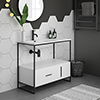 Venice Black Frame Basin Washstand - 1 Drawer, 1 Cupboard inc. 900mm Solid Stone Basin profile small image view 1