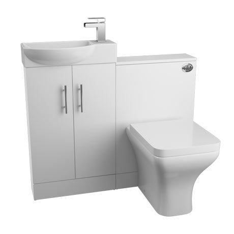 Valencia 1000mm Mini Gloss White Basin + WC Unit