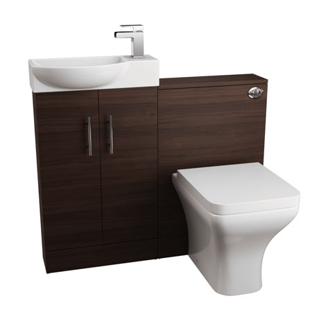 Valencia 1000mm Mini Walnut Basin + WC Unit