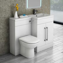 Valencia Bathroom Combination Suite Unit with Basin & Round Toilet - 1100mm Medium Image