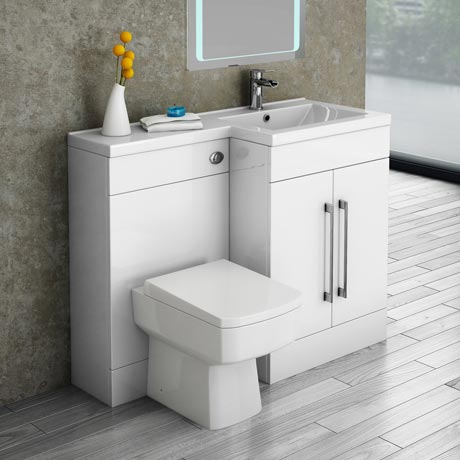 Valencia Bathroom Combination Suite Unit with Basin & Square Toilet - 1100mm