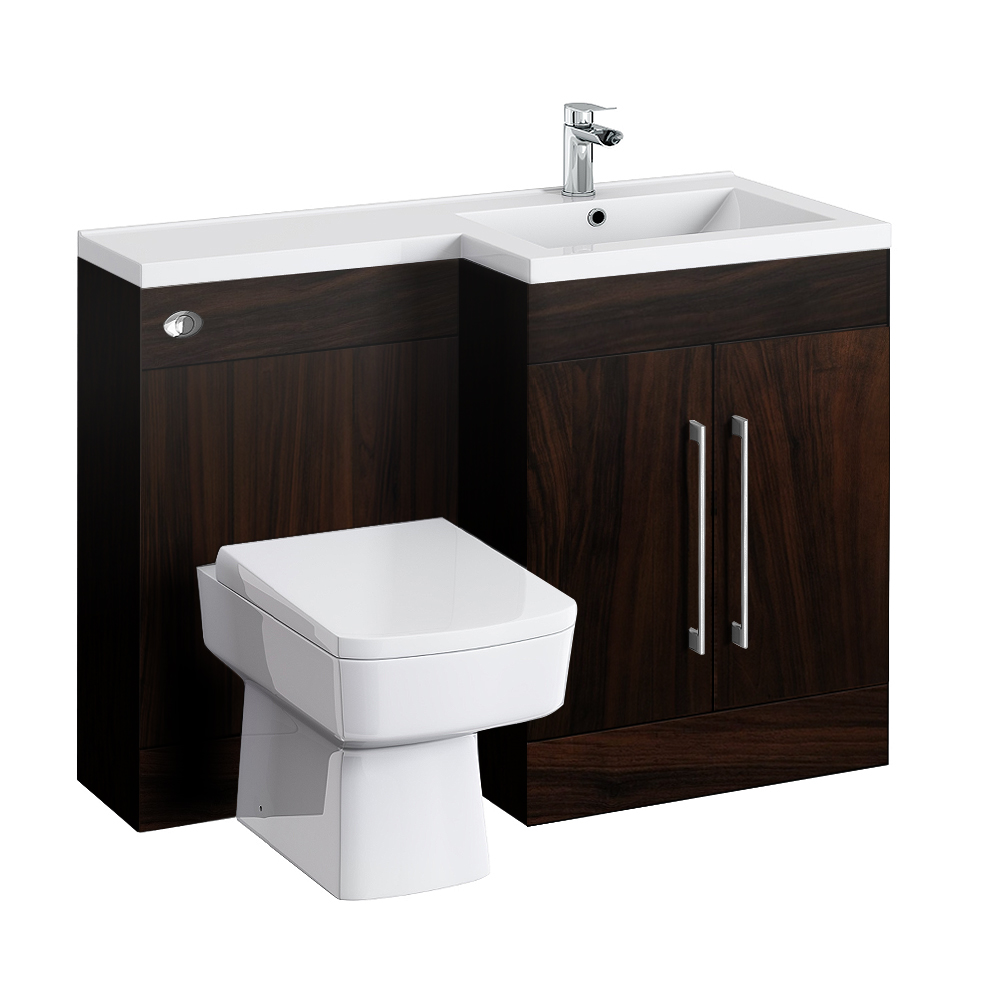 Valencia 1100 combination basin wc unit dark wood for Small baths 1100