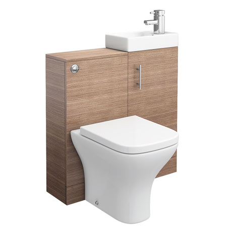 Valencia 810mm Mini SQ Oak Basin + WC Unit