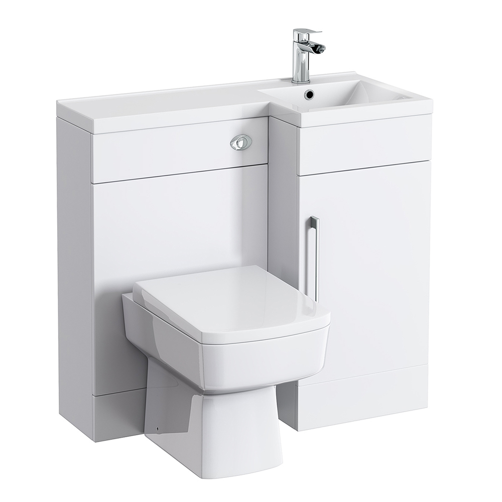 Valencia Combination Bathroom Suite Unit with Square Toilet - 900mm In Bathroom Large Image