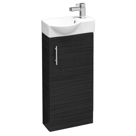 Valencia Mini Black Ash Vanity Unit - 400mm Wide