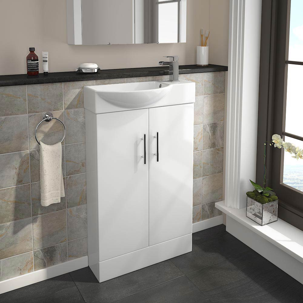 Valencia Mini Gloss White Vanity Unit - VAL500WHT