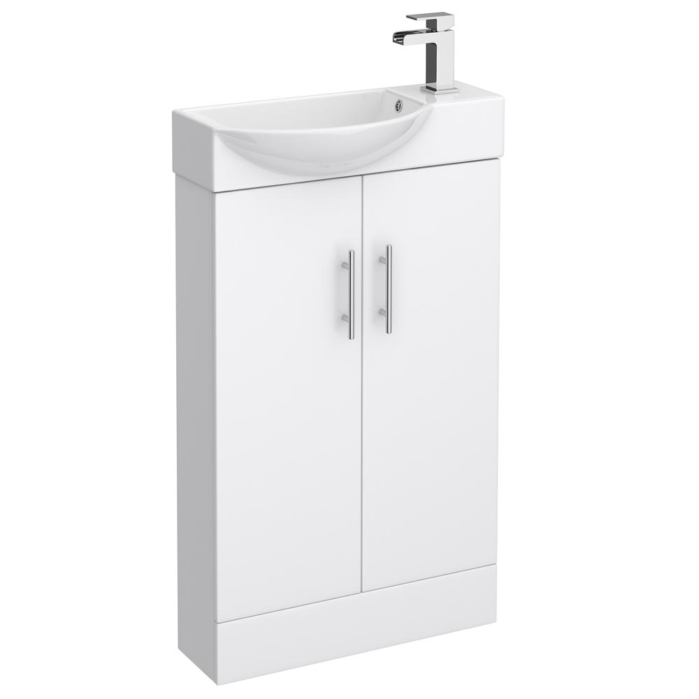Valencia Mini Gloss White Vanity Unit - 500mm Wide Large Image