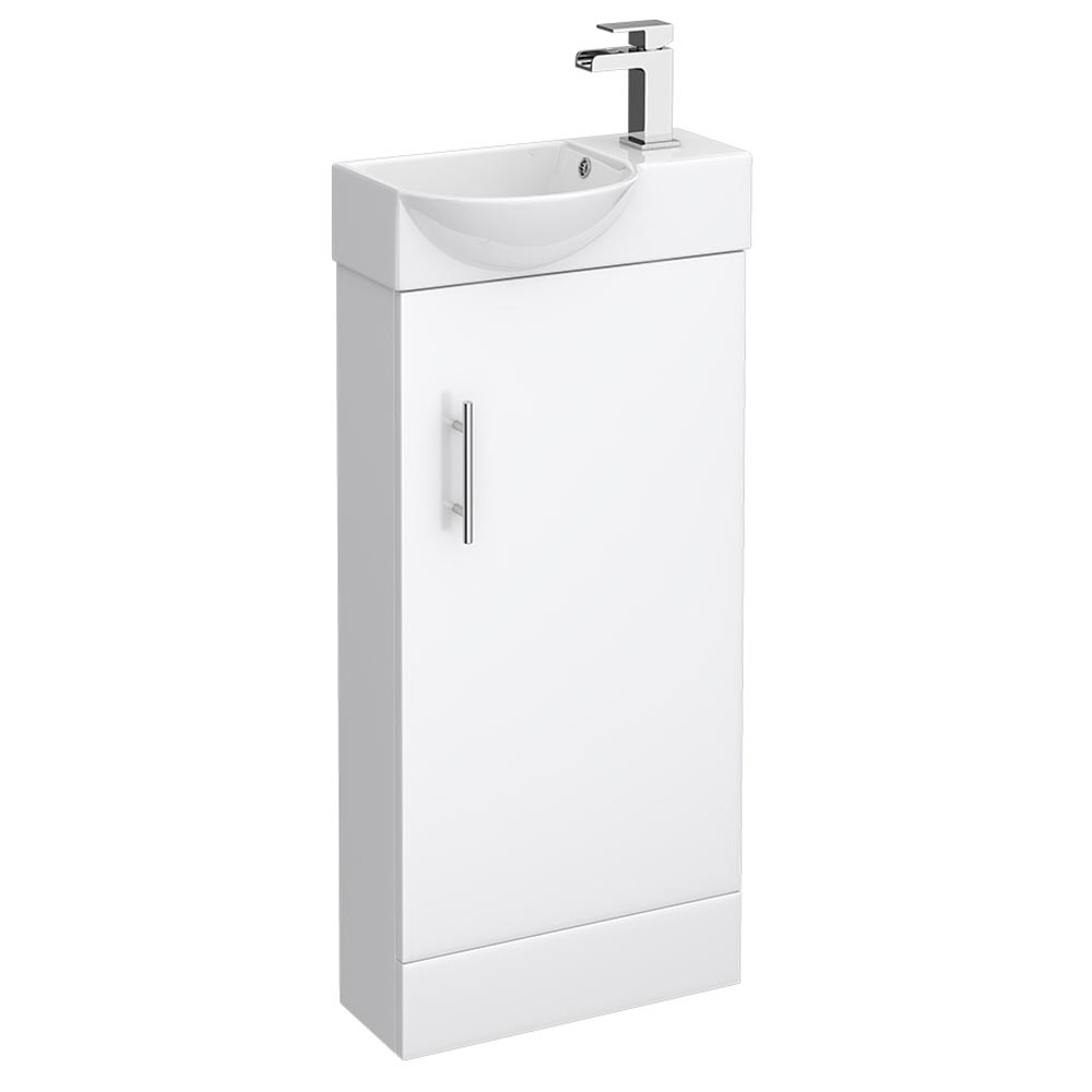 Valencia Mini Gloss White Vanity Unit - 400mm Wide profile large image view 1