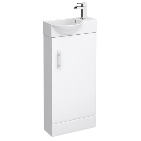 Valencia Mini Gloss White Vanity Unit - 400mm Wide