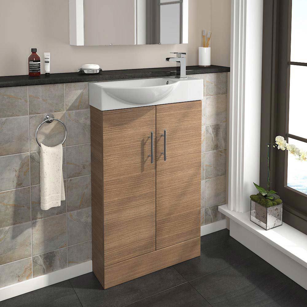 Valencia Mini Oak Vanity Unit - 500mm Wide profile large image view 2