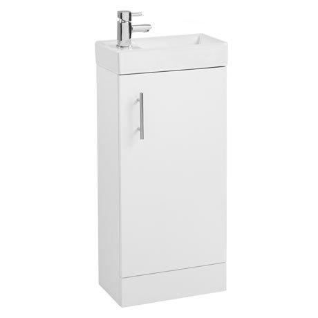 Valencia Mini SQ 1-Door Gloss White Vanity Unit - 400mm Wide