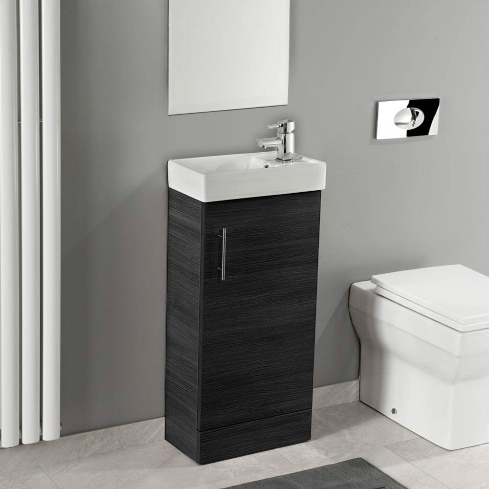 Valencia Mini SQ 1-Door Black Ash Vanity Unit - 400mm Wide  Profile Large Image