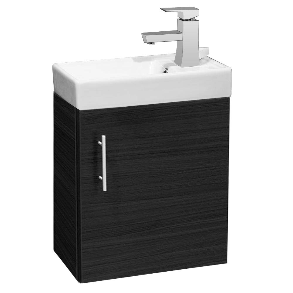 Valencia Mini SQ Black Ash Wall Hung Vanity Unit - 400mm Wide Large Image