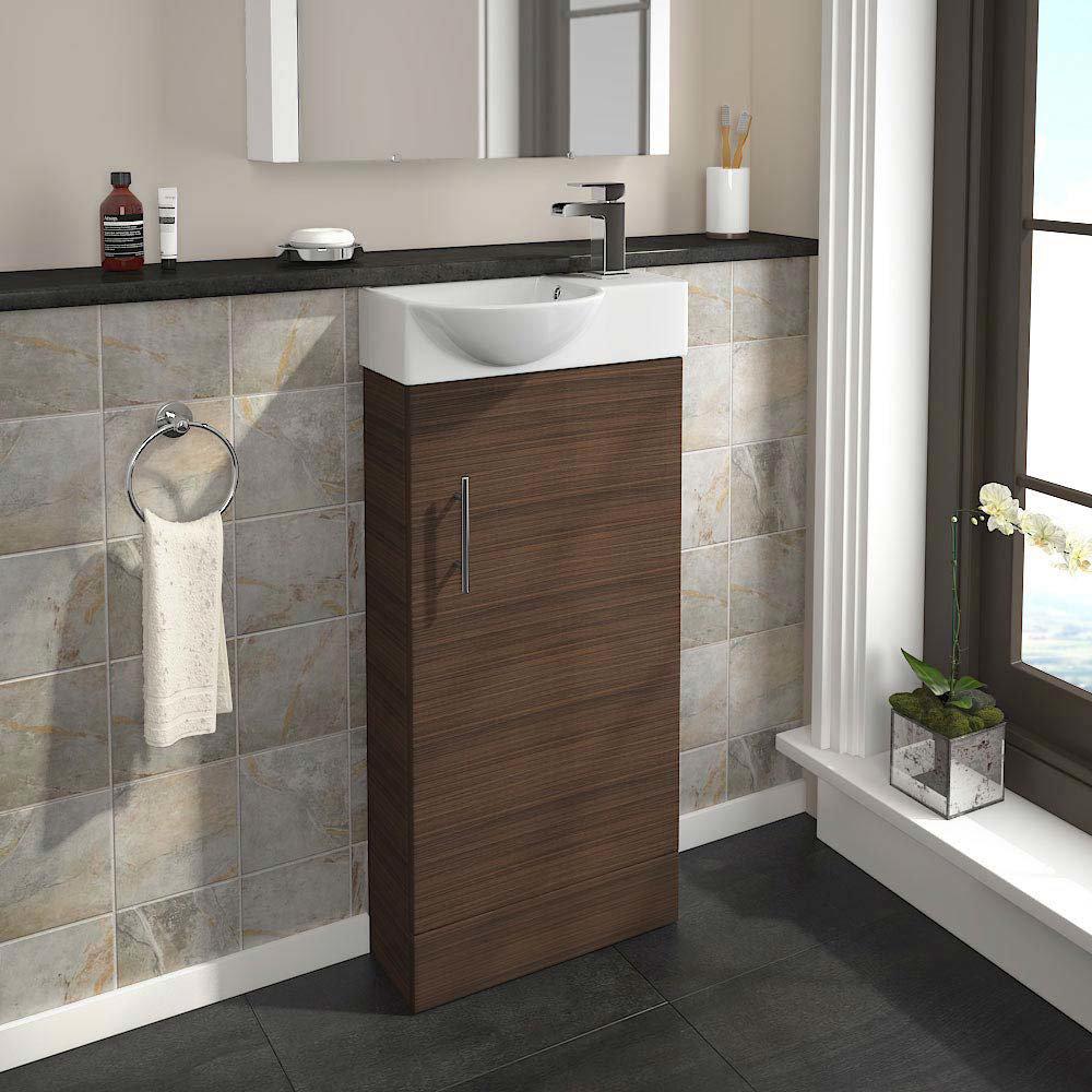 Valencia Mini Walnut Vanity Unit - 400mm Wide  In Bathroom Large Image