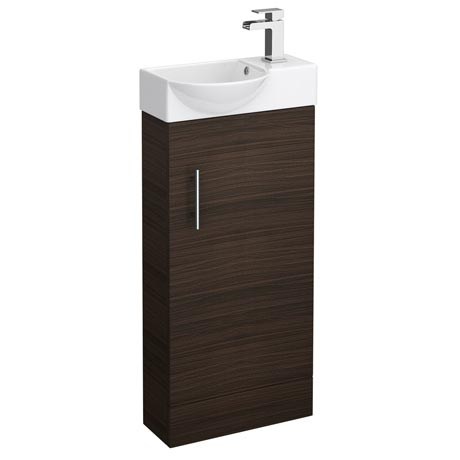 Valencia Mini Walnut Vanity Unit - 400mm Wide
