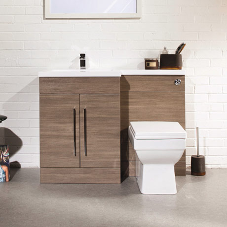 Valencia Oak Combination Basin and WC Unit - 1100mm