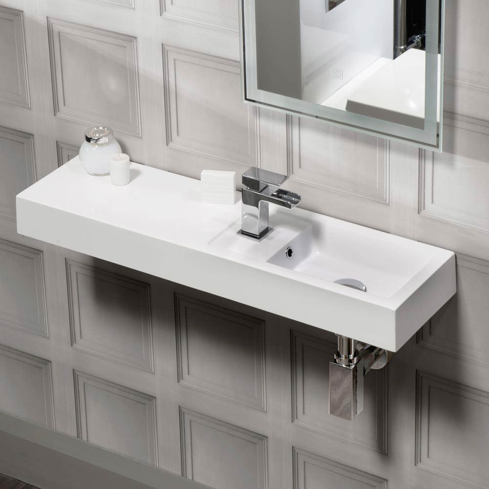 Valencia Wall Hung Polymarble Basin with Intergrated Shelf - 800mm Wide Large Image