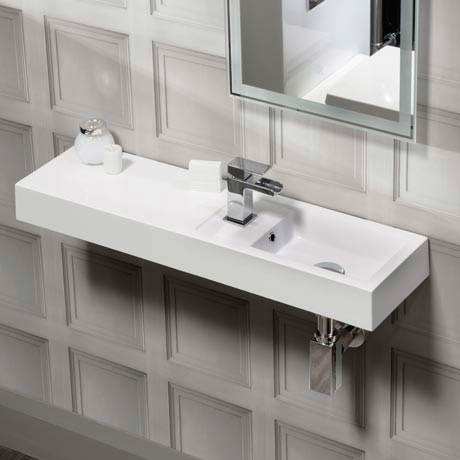 Valencia Wall Hung Polymarble Basin with Intergrated Shelf - 800mm Wide