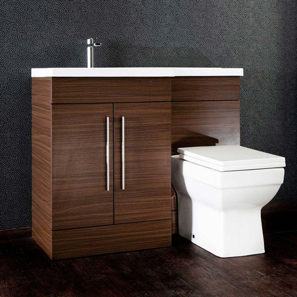 Valencia Walnut Combination Basin and WC Unit - 1100mm profile large image view 3