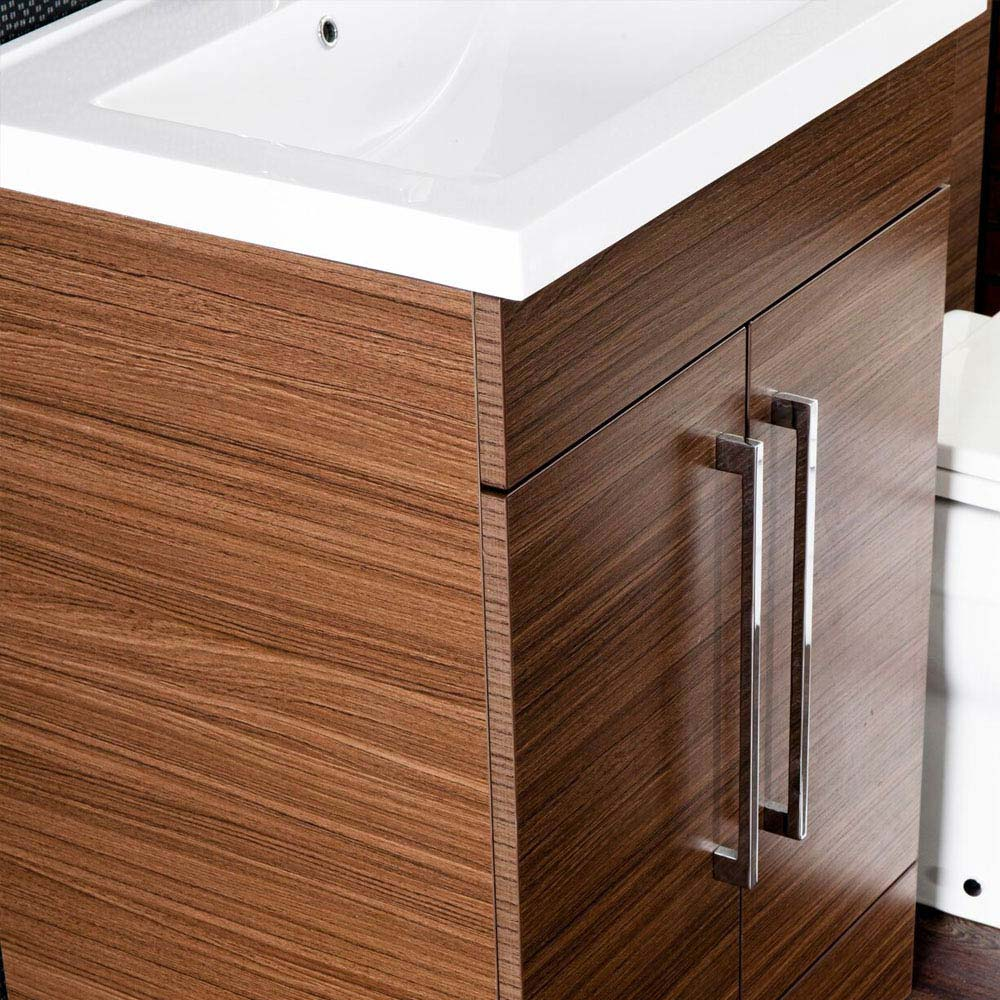 Valencia Walnut Combination Basin and WC Unit - 1100mm profile large image view 4