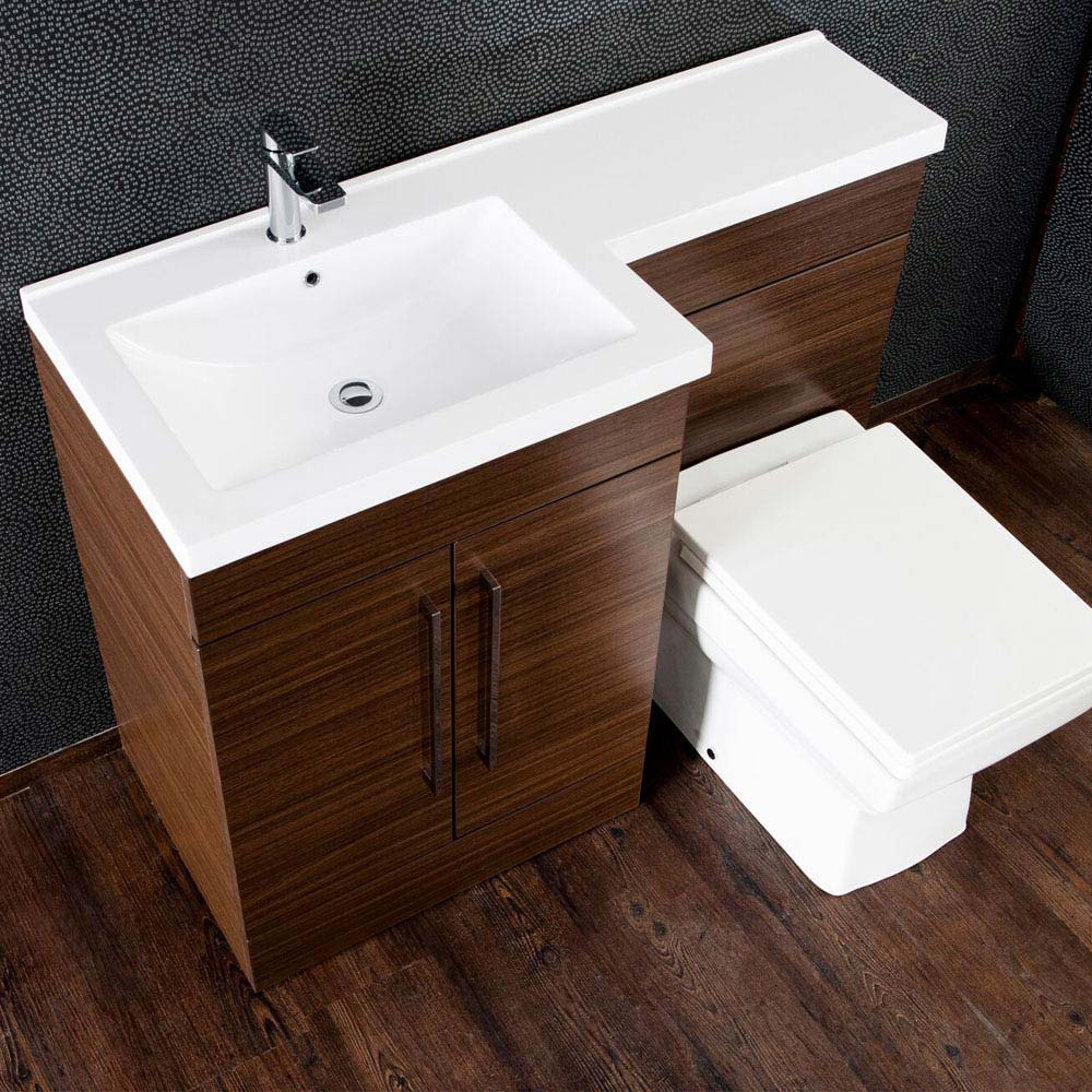 Valencia Walnut Combination Basin and WC Unit - 1100mm profile large image view 5