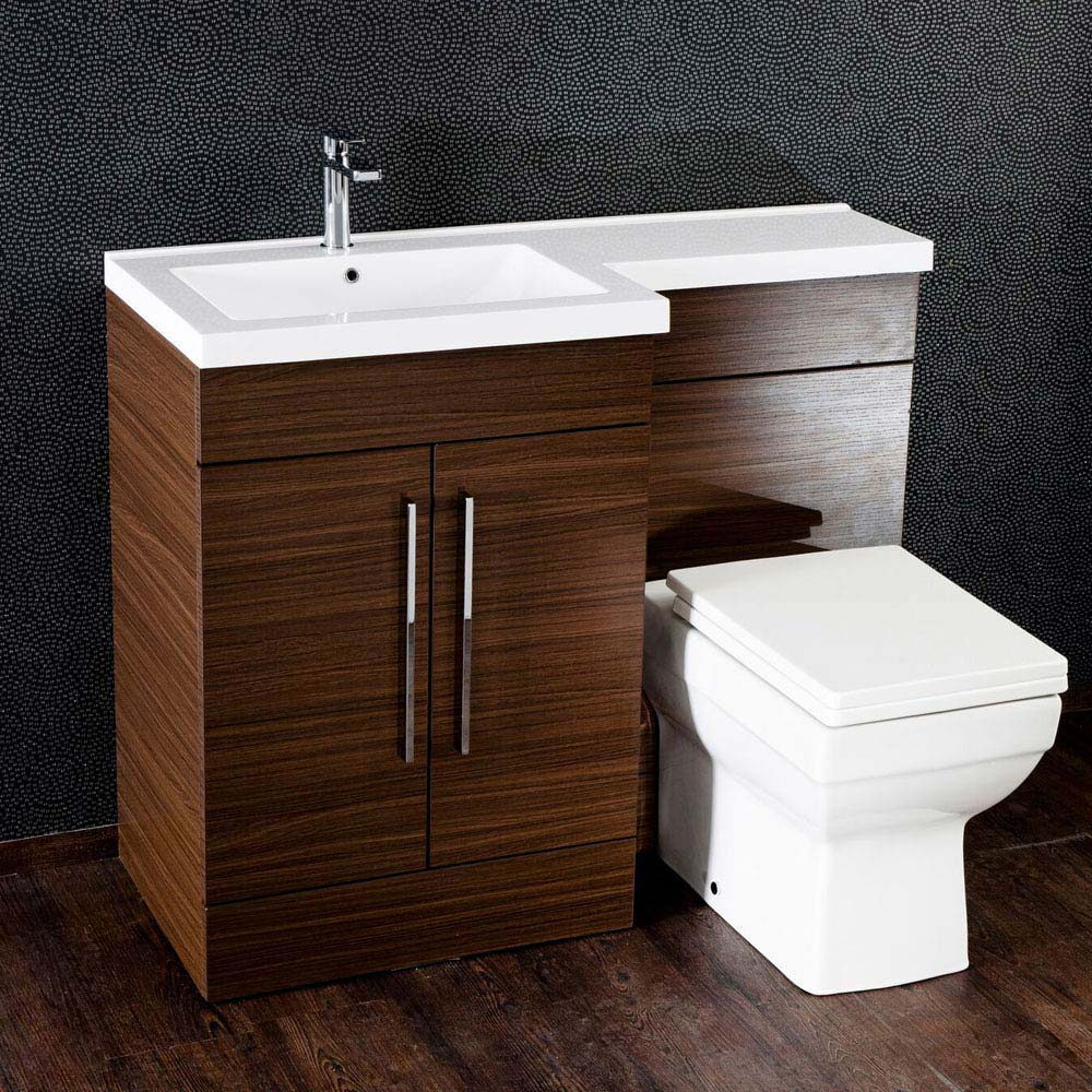 Valencia Walnut Combination Basin and WC Unit - 1100mm Large Image