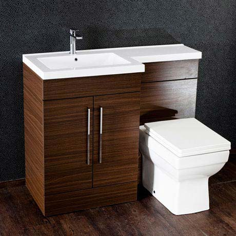 Valencia Walnut Combination Basin and WC Unit - 1100mm
