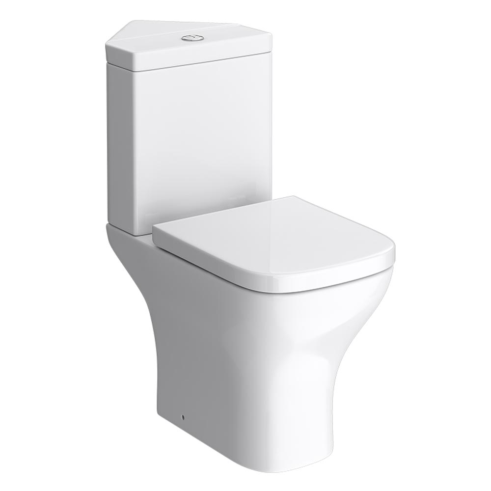 Venice Modern Corner Toilet with Soft Close Seat Large Image