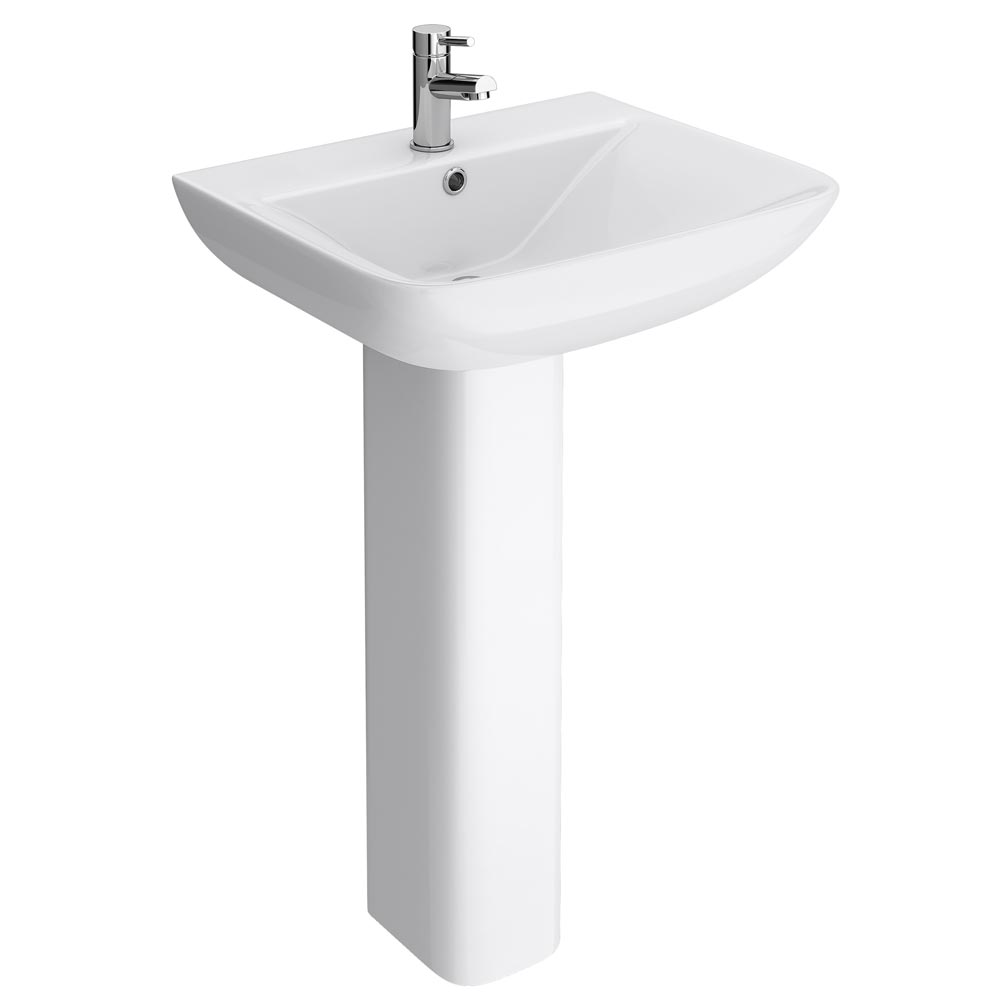 Venice Modern Short Projection Basin & Pedestal (550mm Wide - 1 Tap Hole) Large Image
