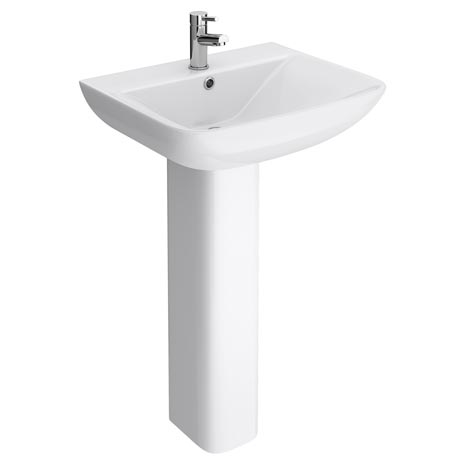 Venice Modern Short Projection Basin & Pedestal (550mm Wide - 1 Tap Hole)