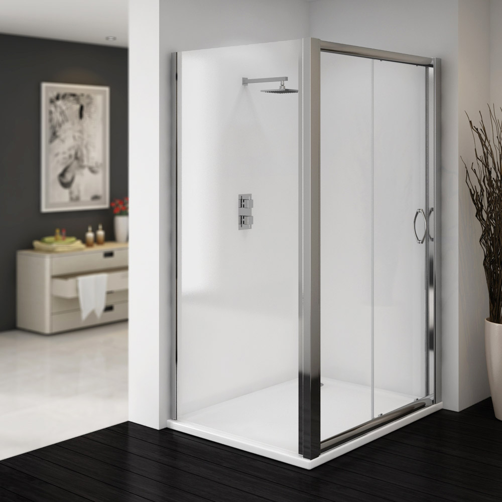 Ventura 1000 x 800mm Sliding Door Shower Enclosure with Pearlstone Tray Large Image